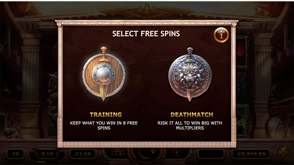 Champions of Rome Free Spins Training Mode